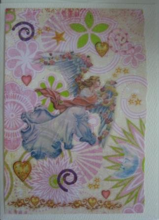 angel on pink splash paper
