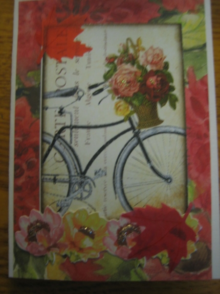 Bicycle and flowers in basket