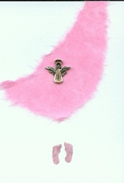 Angel on pink mulberry paper
