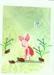 Piglet with ladybugs