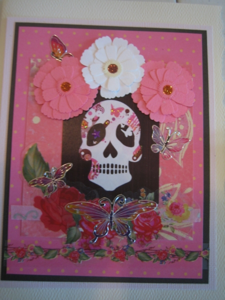 Pink skull with flowers