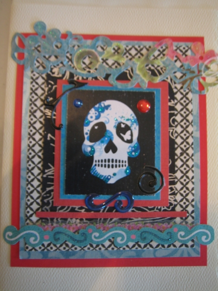 Skull with crown, blues and red