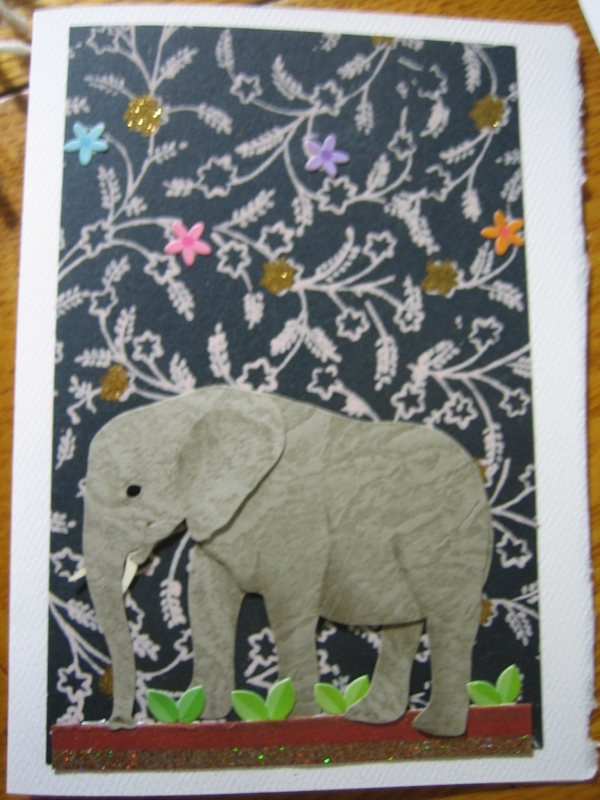 Young elephant with black/gray backgrd