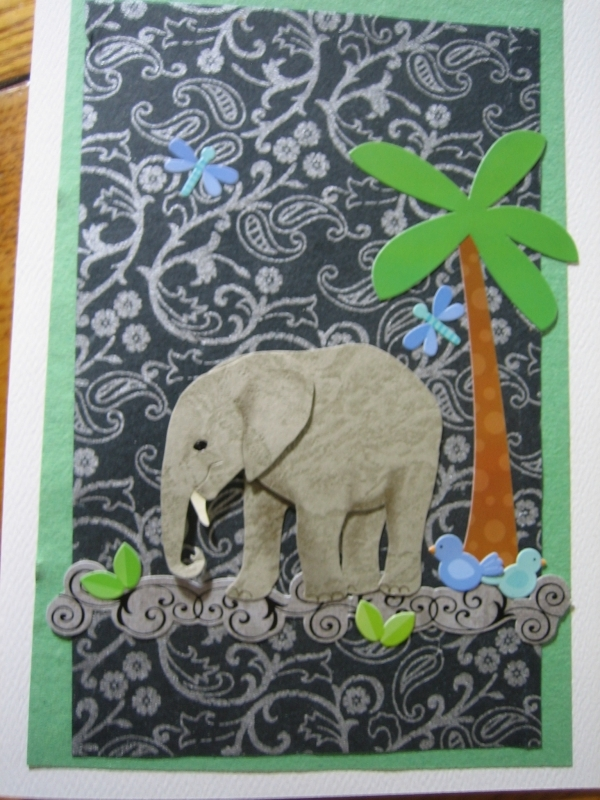 Young elephant with tree, black/gray paper