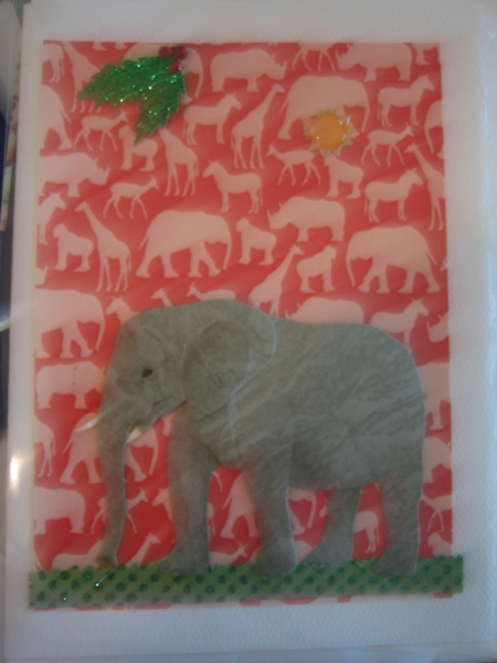 Adult elephant on red animal paper
