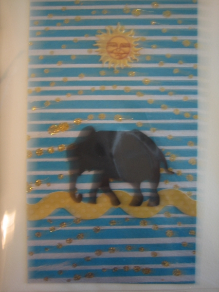 Elephant on turquoise with sun