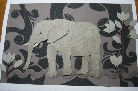 elephant with black and gray backgrd