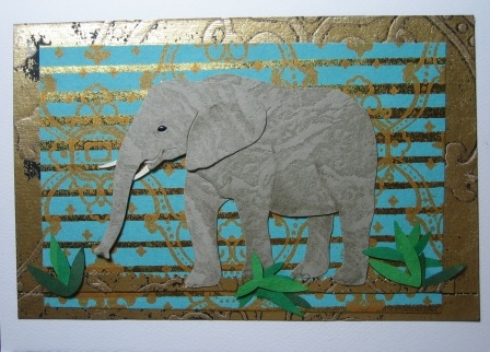 elephant with gold and turquoise background