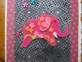 pink elephant on black and pink