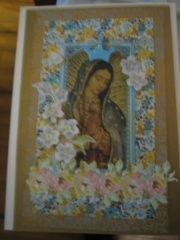 Our Lady with pastel flowers