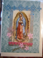 Blue Our Lady with pink flowers and hearts