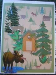 Elk and cabin