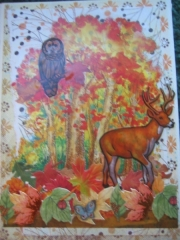 Deer & owl in autumn woods