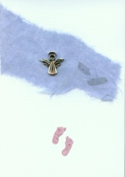 Angel charm on blue mulberry