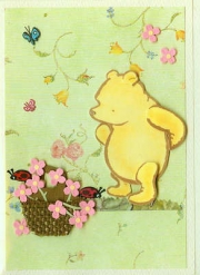 Pooh and pink flowers