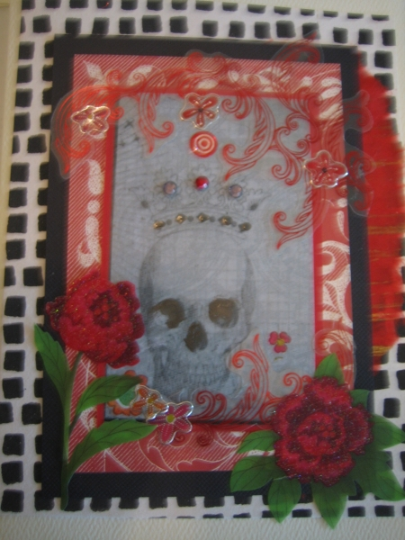 Skull with crown, roses