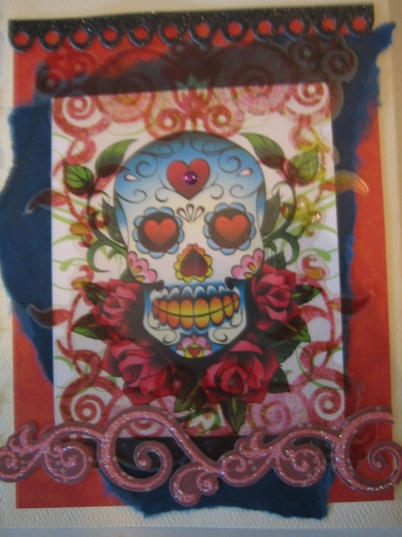 Skull with roses, red swirls