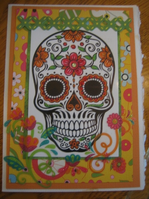 Skull with red flower, orange