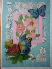Butterfly and pink flowers