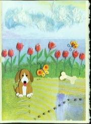 dog and tulips