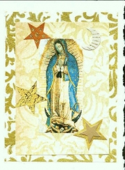 Vintage Our Lady with gold and stars
